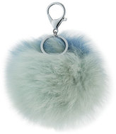 Adrienne Landau Two-Tone Fox Fur Pompom/Charm for Handbag, Light Blue Combo