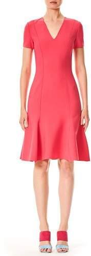 Carolina Herrera V-Neck Short-Sleeve Virgin-Wool Short Dress