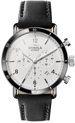 Shinola Canfield Sport Stainless Steel Chronograph Leather Strap Watch