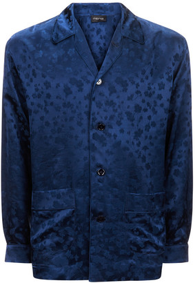 MENG Men S Navy Silk Floral Jacquard Shirt