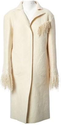 BEVZA Ecru Wool Coat for Women