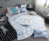 Cotton Cartoon Printed Twin Sheet Set for Kids Boys Girls Children Duvet Cover Sets Grey Whale Pattern Bedding (No Comforter)-LAGHCAT