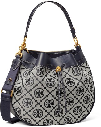 Tory Burch T Monogram Jacquard Drawstring Hobo
