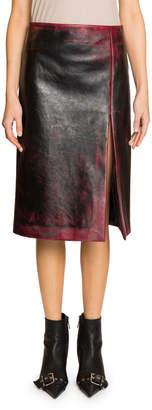 Balenciaga High-Slit Grainy Leather Skirt