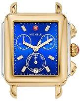 Michele Deco Two-Tone Chronograph Watch Head with Diamonds, Blue