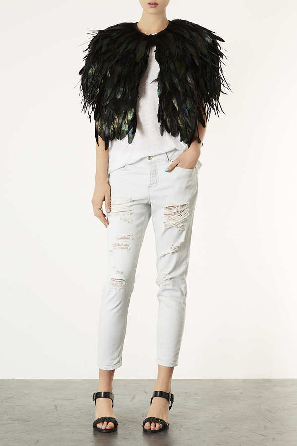 Topshop Feather Capelet