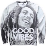 "Pizoff Unisex Hipster Long Sleeve Crew Neck Punk Style ""Good Vibes"" 3D Graphic Print Grey Sport Pullover Sweatshirts -XXL"