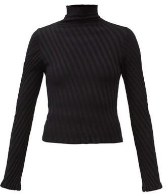 Balenciaga Diagonal Rib-knitted Jersey Sweater - Black
