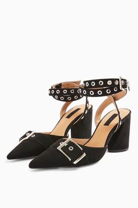 Topshop FIJI Black Stud Block Shoe Boots