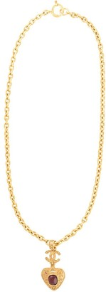 Chanel Pre Owned CC stone long necklace
