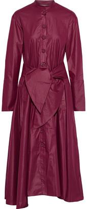 Tibi Belted Coated Poplin Midi Dress