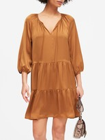 Banana Republic Petite Satin Tiered Swing Dress