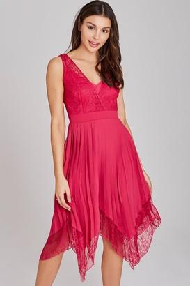 Little Mistress Frances Hot Pink Lace-Trim Midi Dress