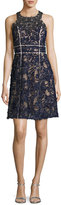Marchesa Sleeveless Beaded Lace Cocktail Dress, Navy