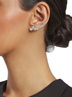 Sterling Forever Crystal Star Ear Crawlers