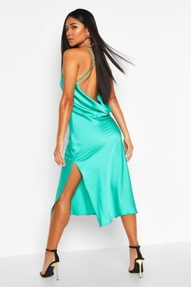 boohoo Satin Cowl Back Midi Slip Dress
