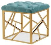 TOV Furniture Skylar Pebbled Velvet Long Bench in Gold/Blue