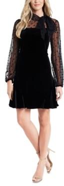 CeCe Mixed-Media Velvet Dress