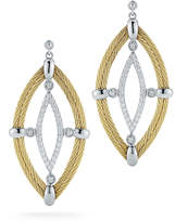 Alor 18k Diamond & Cable Marquise Drop Earrings, Yellow