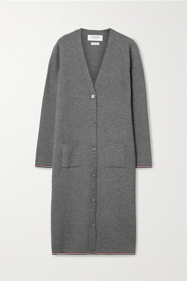 Thom Browne Ribbed Merino Wool-blend Cardigan - Gray