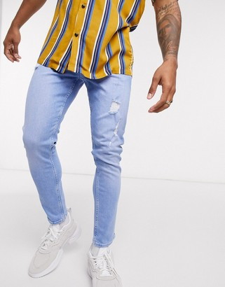Asos Design ASOS DESIN cropped super skinny jeans in light wash blue with abrasions