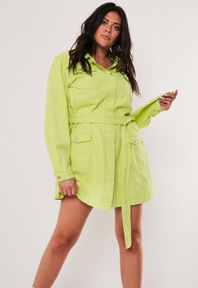 Missguided Size Neon Lime Belted Long Denim Jacket