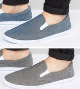 Asos Slip On Plimsolls In Black And Blue Chambray 2 Pack Save