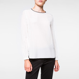 Paul Smith Women's White Silk Long-Sleeved Top With Black Collar