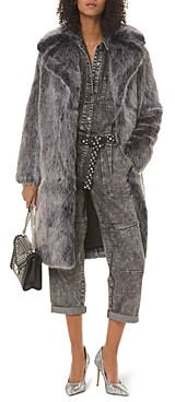 MICHAEL Michael Kors Wide-Lapel Faux-Fur Long Coat