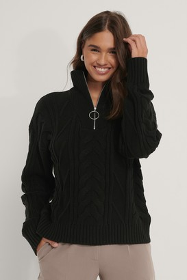 NA-KD Half Zip Cable Knit Sweater