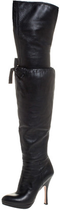 Prada Black Leather Over The Knee Boots Size 38.5