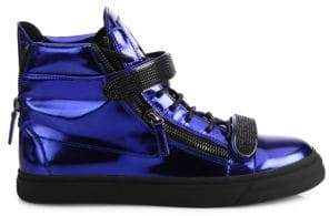 Giuseppe Zanotti Metallic Double Bar High-Top Sneakers