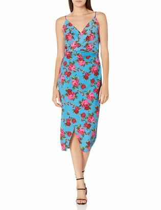 Betsey Johnson Women's Bodycon Faux Wrap Scuba Crepe Midi Dress