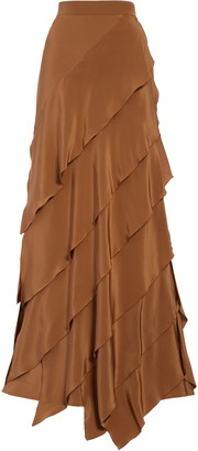 Max Mara Africa Tiered Silk Crepe de Chine Maxi Skirt