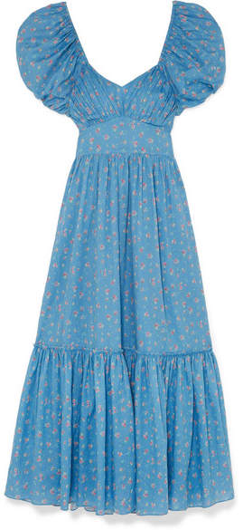 LoveShackFancy Angie Gathered Floral-print Cotton Maxi Dress - Blue