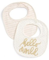 Mud Pie Infant Girl's Hello World Set Of 2 Bibs