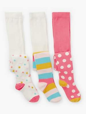 John Lewis & Partners Girls' Spot and Stripe Tights, Pack of 3, Multi