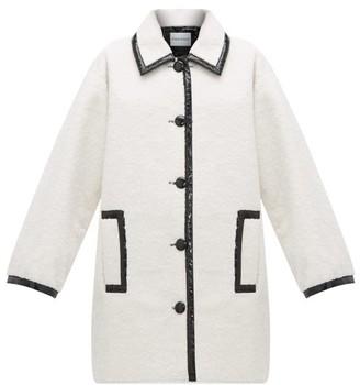 Stand Studio Jacey Pvc-trim Faux-shearling Coat - Womens - Black White