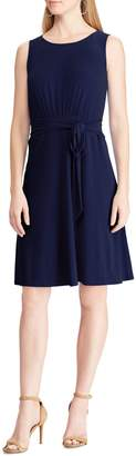 Chaps Tie-Front Fit--Flare Jersey Dress