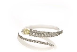 Ri Noor Fancy Yellow Diamond Briolite Pave White Diamond Ring
