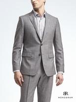 Banana Republic Slim Monogram Gray Stripe Wool Blend Suit Jacket