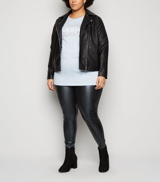 New Look Curves Leather-Look Front Leggings