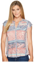 Lucky Brand Rena Border Print Top Women's Short Sleeve Pullover