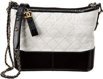 Chanel White And Black Quilted Lambskin Leather Gabrielle Hobo Bag