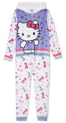 Hello Kitty Girls Pink Bow Hooded Pajama Blanket Sleeper, Sizes 4-7