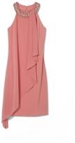 Vince Camuto Embellished-neckline Chiffon-overlay Dress