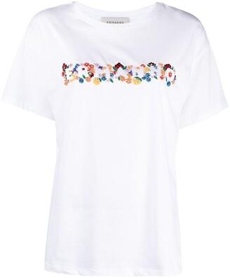 Ermanno Ermanno floral logo embroidered T-shirt