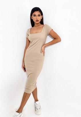 Missguided Camel Rib Square Neck Midi Dress