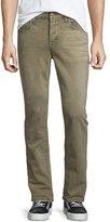 Hudson Sartor Control Slouchy Skinny-Leg Denim Jeans, Beige