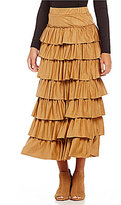 Chelsea & Theodore Faux-Suede Tiered Ruffle A-line Maxi Skirt